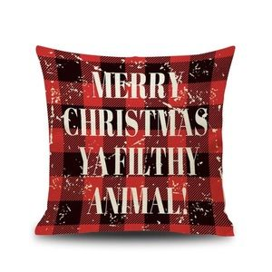 Merry Christmas Ya Filthy Animal Plaid Pillow Case